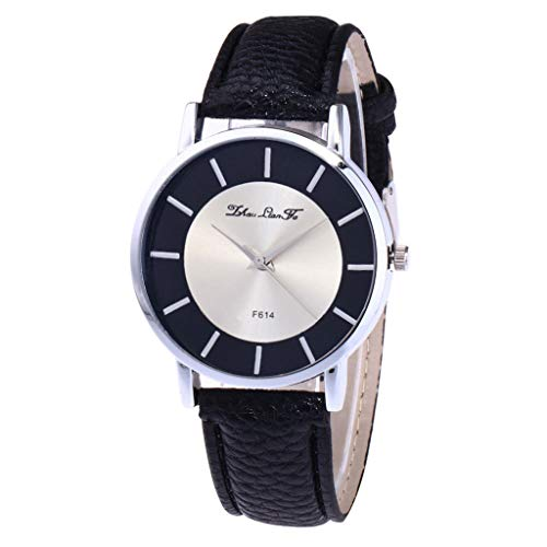 Lazzgirl Damenmode Casual Lederband Analoge Quarz-Uhr(Noir,One Size)