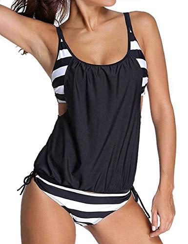 heekpek Frauen Tankini Zweiteilig Schwimmanzug Streifen Bademode Damen Strandmode Bikini Set Damen Bikini-Sets Tankini Oversize Große Größen Strand Bikini Streifen Push up -
