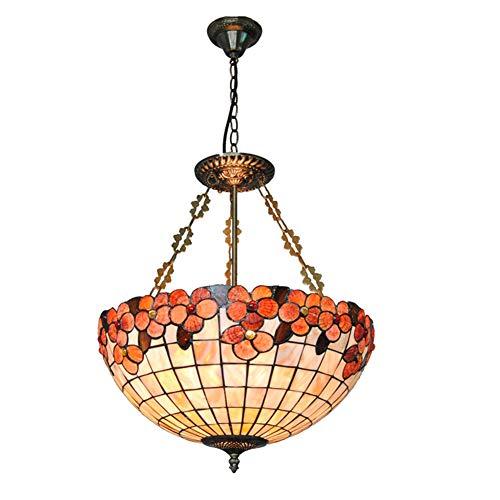 Fünf-licht-leuchter-glühlampen (Tiffany-Art-hängende Lichter, Leuchter, kreativer Beleuchtungs-Deckenbefestigungs-Stab-Restaurant-18 Zoll-Farben-Shell-Blumen-hängender Lampenschirm, 110-240V / E27 * 5)