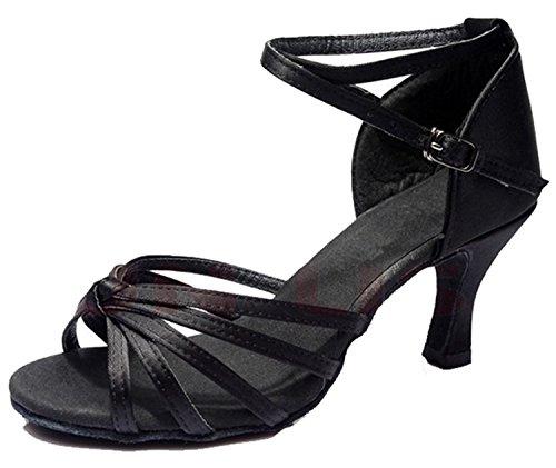 Minetom Femme Pour Dame Talon Bas Chaussures de Danse Paillettes Bout Rond Latin Lanière de Cheville Boucle