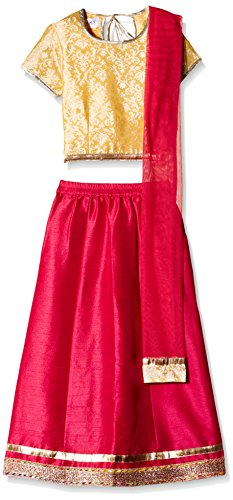 Atayant Girl Lehenga Choli (ATAYK_025_2:3YR_Gold:DarkPink_S)