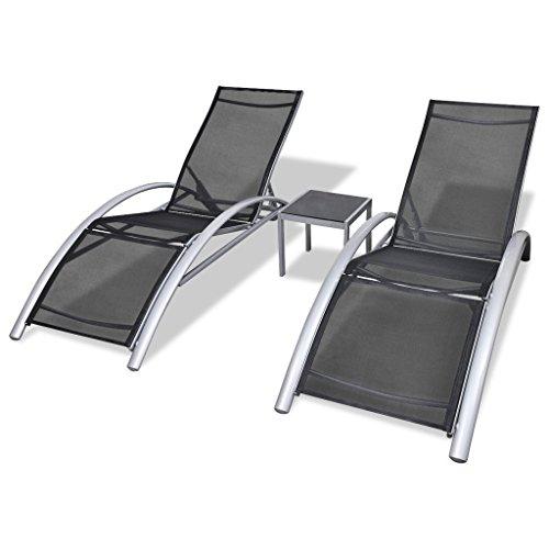 Festnight 2 Chaise Longue et 1 Table Aluminium Noir Bains de Soleil