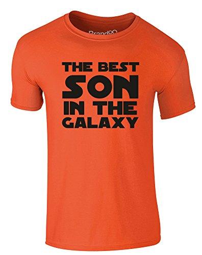 Brand88 - The Best Son in the Galaxy, Erwachsene Gedrucktes T-Shirt Orange/Schwarz