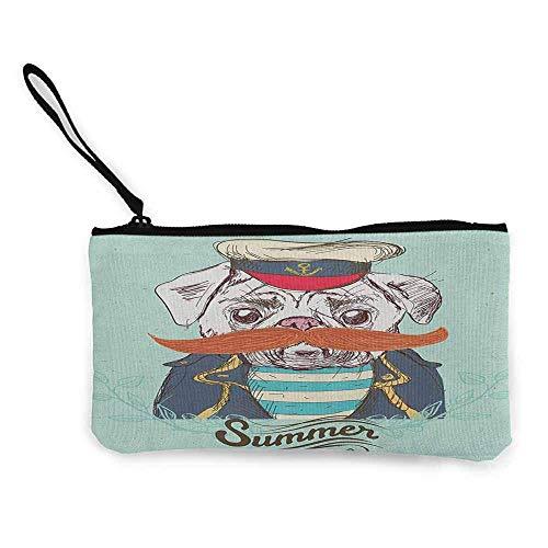 TTmom Damen Leinwand Geldbörse Portemonnaie Geldbeutel,Pug Captain Dog with Hat Mustache Jacket and Shirt Cute Animal Funny Image Wallet Coin Purses Clutch W 8.5