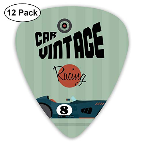 Celluloid Guitar Picks - 12 Pack,Abstract Art Colorful Designs,Classical Vintage Car Poster Racing Sports Competition Theme,For Bass Electric & Acoustic Guitars. - Racing Camo