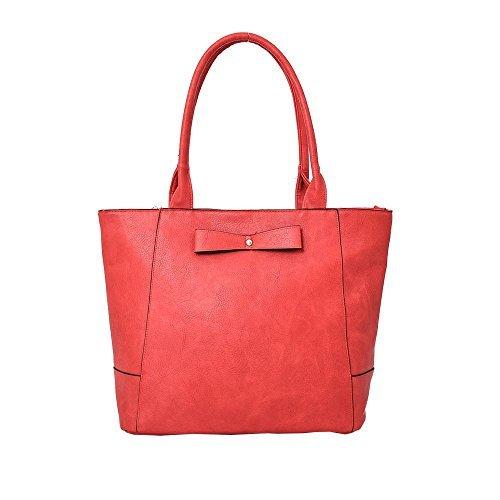 Haute für Diva S Neu Damen Kunstleder Schleife Dekoration große Panel Einkaufstasche Schultertasche - Rot, Large Rot