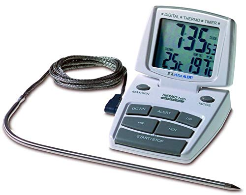 TFA 14.1500 Küchen-Thermo-Timer Backofentimer, Weiss mit Clips für Temperaturfühler