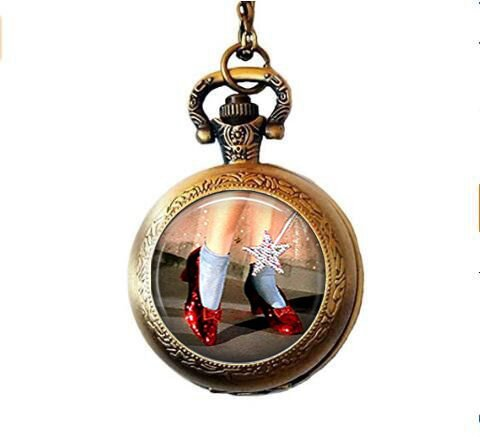 qws Rubin-Slipper Anhänger, Oz Schmuck, Oz Halskette, Zauberer von Oz Schmuck, Rubin Hausschuhe Halskette, Zauberer von Oz Taschenuhr-Halskette