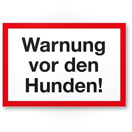 Warnung vor Hunden (weiß-rot) - Hunde Kunststoff Schild, Hinweisschild Gartentor/Gartenzaun - Türschild Haustüre, Warnschild Abschreckung/Einbruchschutz - Achtung/Vorsicht Hund