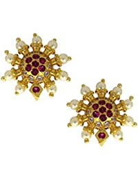 Anuradha Art Golden Finish Styled With Studded Stone With Pearls Beads Traditional Studs Earrings For Women/Girls
