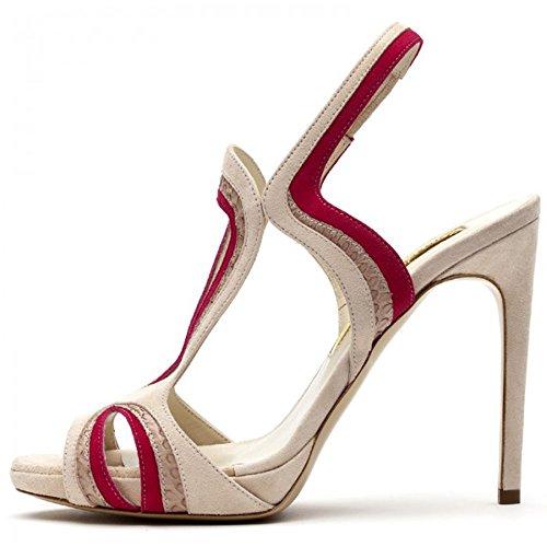 Onlymaker Damenshcuhe High Heels Stiletto Peep Toe Riemchen Sandale Wildleder Pink
