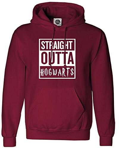 STRAIGHT OUTTA HOGWARTS Unisex Hoodie - Harry Potter Inspired Straiht outta Compton Fashion Tumblr (Medium, Burgundy)