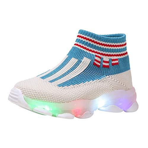 Laufschuhe, Sanahy Kinder Jungen Mädchen gestreiften Mesh gewebt atmungsaktive Schwungrad LED helle Schuhe helle Socken Schuhe