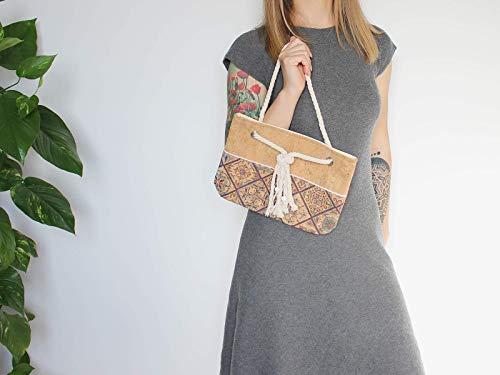 Korktasche braun blau, mit Muster, vegane Damentasche - 6