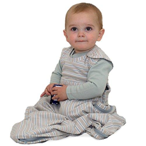 Merino kids sacco nanna per bambini 2-4 anni, stampa di pecora impilata - striscia grigio chiaro/grigio