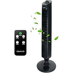 OZAVO Ventilateur Colonne Silencieux | Ventilateur Tour avec Télécommande | Ventilateur sur Pied Oscillant 70°| 45 W | 3 Niveaux de Vitesse (LOW / MEDIUM / HIGH) | Minuterie