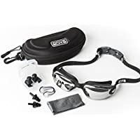 Swimming Goggles with Protective Case Nose Clip Ear Plugs and Lifetime Guarantee Included Performance Adult Unisex Swim Goggle, Anti-Fog Mirror / Tinted Lenses easy adjust Head Strap For Men and Woman
