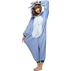 Moollyfox Kigurumi Pijamas Unisexo Adulto Traje Disfraz Adulto Animal Pyjamas Azul XL