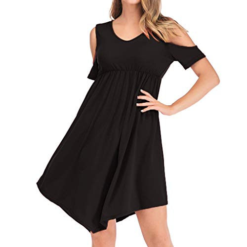 Pingtr - Damen Kurzes Rückenkleid - Lose Rundhalsausschnitt mit Rundhalsausschnitt Unregelmäßige Lässige Ärmel Off-Schulter Kleid