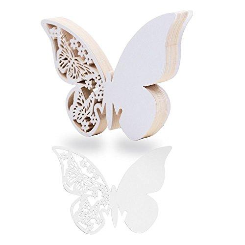 (10 * 7cm) 100 pz Segnaposti Segnabicchiere Segnatavolo Bianco Perlato forma di Farfalle Decorazioni per Feste Matrimonio (Bianco)