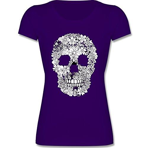 Bunt gemischt Kinder - Totenkopf Blumen Skull Flowers - 140 (9-11 Jahre) - Lila - F288K - Mädchen T-Shirt (Blumen-kinder-t-shirt)
