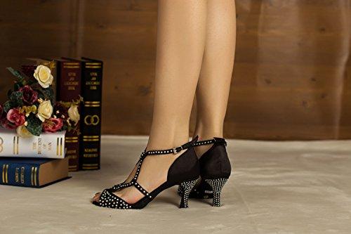 Da donna Minitoo Hot nastro di raso sera matrimoni sandali Cha Latin Dance scarpe Nero (nero)