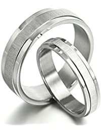 Gemini Free Engrave Groom & Bride Matching Anniversary Couple Titanium Wedding Bands Rings Set, UK Size H to Z6Gemini