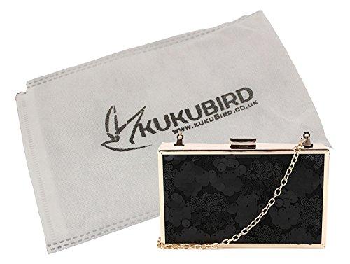 Kukubird Kat Sequin détail boîte pochette avec sac à poussière Kukubird Black