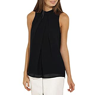 Ai.Moichien Turtle Choker Neck Sleeveless Chiffon Pleated Solid Summer Shirt Tops Blouses