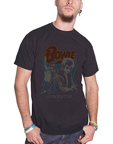 David Bowie T Shirt Distressed 1972 World Tour Poster Ziggy offiziell Herren