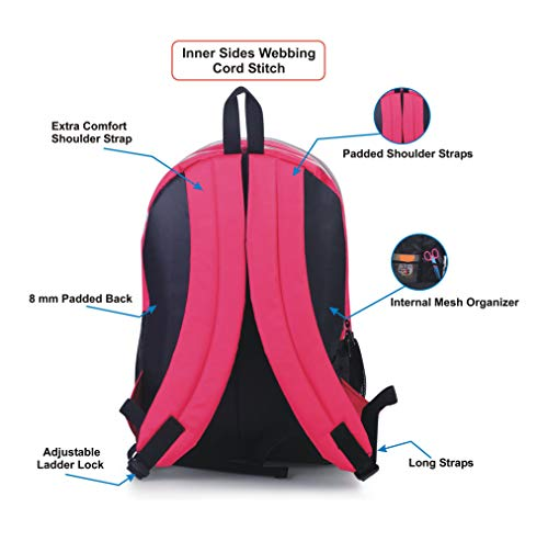 AUXTER Polyester 33 Litre Pink School Backpack Image 3