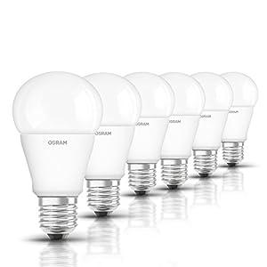 Osram LED Star Classic A Lampe, in Kolbenform mit E27-Sockel, nicht dimmbar, Ersetzt 75 Watt, Matt, Kaltweiß - 4000 Kelvin, 6er-Pack