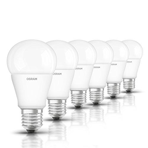 Osram LED Star Classic A Lampe, in Kolbenform mit E27-Sockel, nicht dimmbar, Ersetzt 75 Watt, Matt, Kaltweiß - 4000 Kelvin, 6er-Pack -