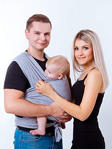 JVS family Babytragetuch aus 100{ee2def2858334f49b575d8f379bafbd440776024eaa3fed4beb2ffa5dac6f5f5} sanfter Bio Baumwolle - Baby Tragetuch für Neugeborene - Hochwertige Babytragetasche für unterwegs - Ideales Erstausstattungs-Geschenk