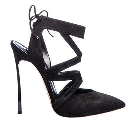 ENMAYER donne tacchi peep toe scarpe sexy merletto stiletto matrimonio sandali Nero