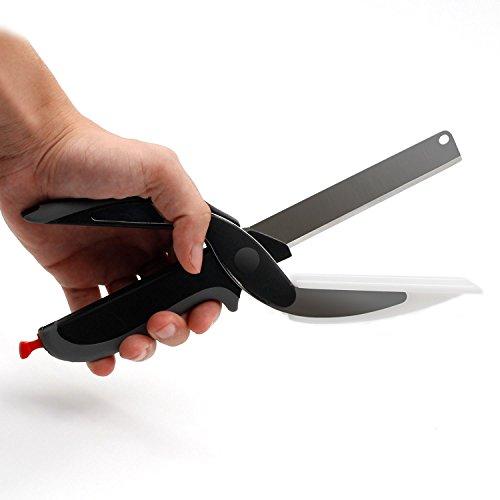 Multifunktionale Küchenschere aus rostfreiem Edelstahl, 2 in 1 Idee - Schneidebrett und Messer