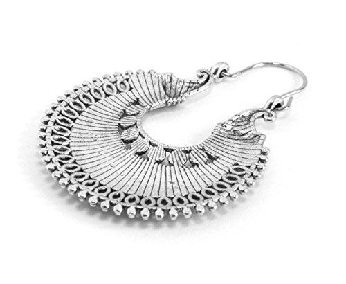 2LIVEfor Traumhafte Ohrringe Ethno Gross verziert Ohrringe Bohemian Vintage Ohrringe lang Hängend Antik Style Silber Ornament -