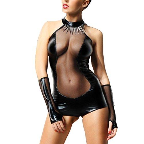 SSScok Minikleid Wetlook Leder Sexy Dessous Nachtwäsche Clubwear