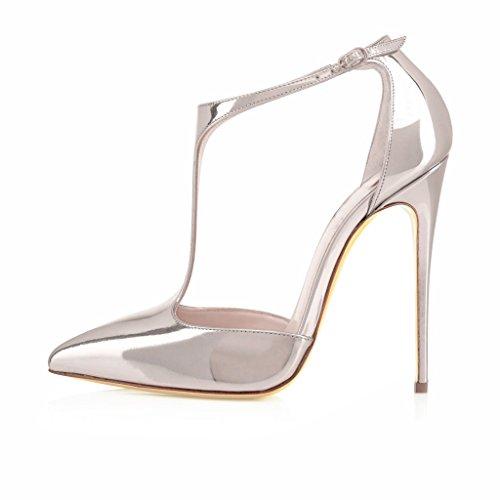 EDEFS Femmes Artisan Fashion 120MM Escarpins Brillants Bout Pointus Bride Cheville Des Couleurs Chaussures à talon haut Argenté Argenté