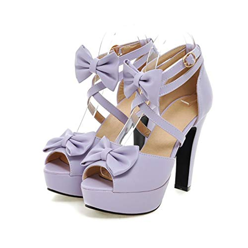 Mzq-yq Womens Ladies Ankle Tie Wrap Lace Up Sandalen Open Toe Rough High Heel, Bow Platform Sandals,Purple,37 - Lace-up Ankle High Sandal