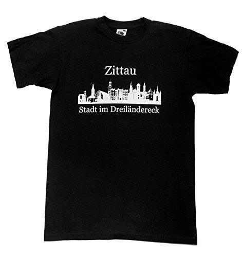 """T-Shirt - Zittau """"Stadt im Dreiländereck"""" Schwarz"""