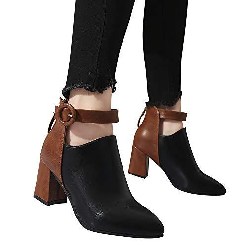 Geili Damen Schuhe Stiefeletten Kontrastfarbe Leder Spitze Stiefel mit Blockabsatz Frauen Übergrößen High Heels Schnalle Reißverschluss Boots Kurzschaft Herbststiefel 36-41