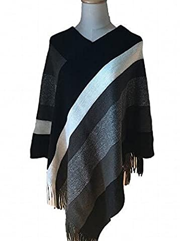 Western Autumn and Winter Shawl Striped Fringed Knitted Shawl Hit Color Sweater Cloak Coat