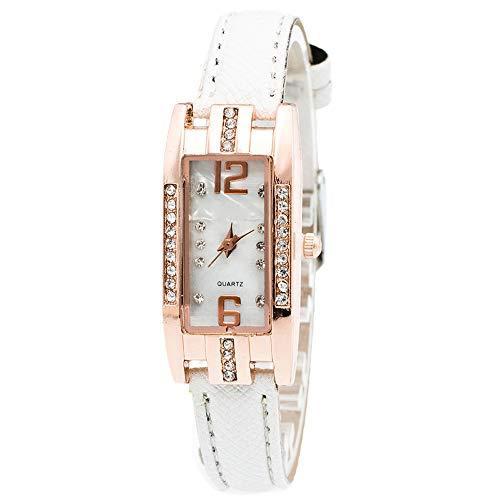 Damen Uhren,Mode Luxus Kristalle Dial Watch Kreativ Elegant Zeiger Platz Quarzuhr Leder Band Paare Wasserdicht Geschenk Proumy (E)