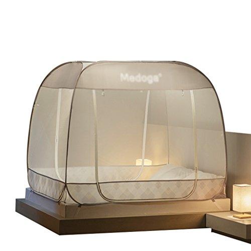 Pop-Up-Zelt-tragbares faltendes Moskitonetz erhöhte Raum-Bett-Überdachung mit drei Öffnungen passend für Innen- und Gebrauch im Freien Bettwäsche-voller Größe ( Farbe : Braun , größe : 1.8m*2m*1.65m ) (Raum Kleinkind Bett)