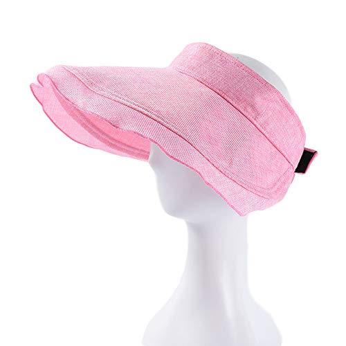 FIYOMET Visier für Damen, faltbar, mit Rüschen, leer, großer Sonnenschutz - Pink - 1