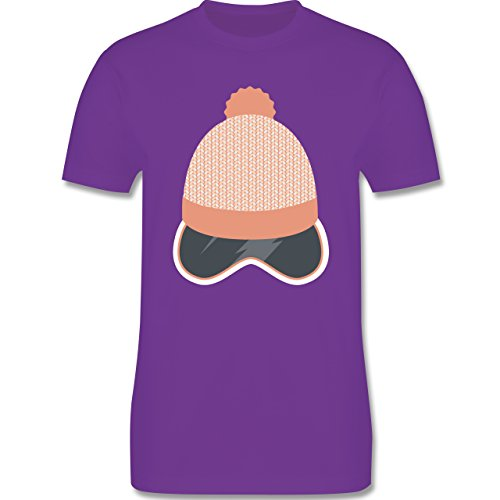 Après Ski - Ski Snowboard Brille Mütze - Herren Premium T-Shirt Lila