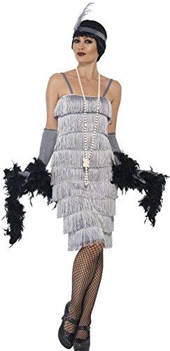 Smiffy's 44672S - Damen Flapper Kostüm, Größe: 36-38, silber