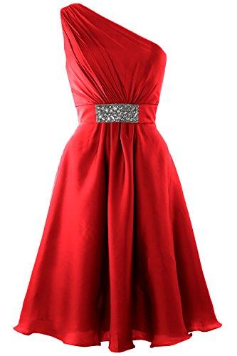 MACloth Elegant One Shoulder Cocktail Dress Short Wedding Party Formal Gown red