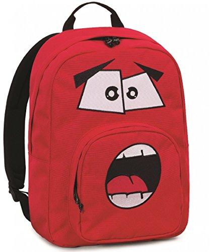 Zaino invicta - ollie face pack plain - rosso ardente- tasca porta pc padded - scuola e tempo libero americano 25 lt